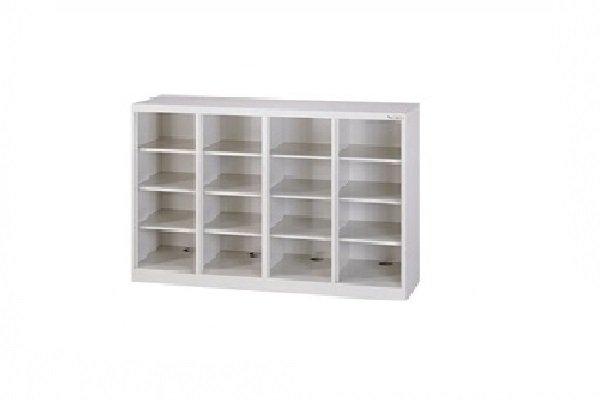 【鋼製鞋櫃-W118cm】16小格無門鋼製鞋櫃
