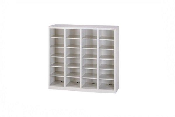 【鋼製鞋櫃-W118cm】24小格無門鋼製鞋櫃