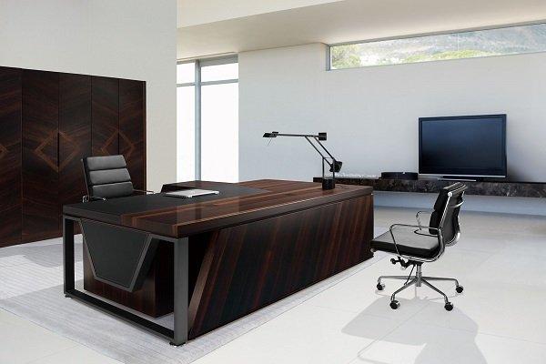 【高質感 】EX-9032 木製馬鞍皮主管桌