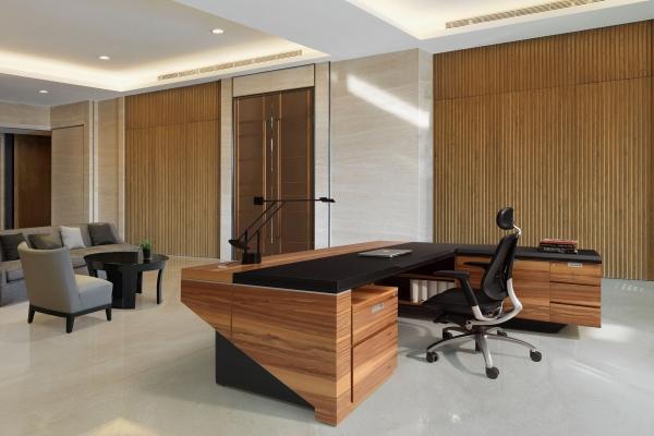 【高質感 】EX-A9033 木製馬鞍皮主管桌
