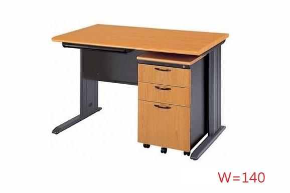 【鋼製辦公桌 】木紋CD辦公桌套餐組-140